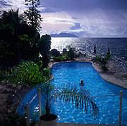 Swimming pool view over ocean, Mahe, Seychelles