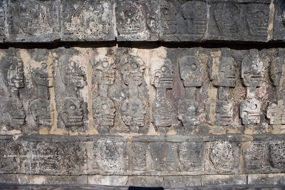Close up of the Wall of the Skulls, Chichen Itza, Yucatan, Mexico