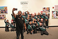 Musicians from the Alisal Community Arts Network take a selfie at the December 5th, 2017 opening of the Stories from Salinas exhibition at the CSUMB Salinas Center for Arts and Culture in Oldtown. The exhibition celebrates the mentors, youth and families of the Salinas Youth Initiative.