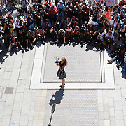 2017 French Open Tennis Tournament - Day Fifteen. Jelena Ostapenko of Latvia, winner of the Women's Singles event, during a photo opportunity at the Suzanne Lenglen statue in Allée Marcel Bernard at the 2017 French Open Tennis Tournament at Roland Garros on June 11th, 2017 in Paris, France.  (Photo by Tim Clayton/Corbis via Getty Images)