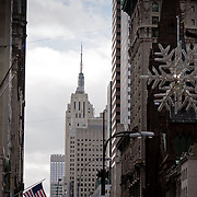 Empire State Building and the christmas star on fifth avenue