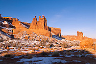Three Gossips, Sheep Rock, in Courthouse Towers area, Arches National Park, Utah, winter