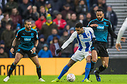 Jurgen Locadia (Brighton) & Kyle Bartley (West Brom) during the FA Cup fourth round match between Brighton and Hove Albion and West Bromwich Albion at the American Express Community Stadium, Brighton and Hove, England on 26 January 2019.