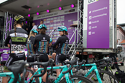 Drops Cycling Team riders wait at the podium to sign on before the Stage 1 of the Ladies Tour of Norway - a 101.5 km road race, between Halden and Mysen on August 18, 2017, in Ostfold, Norway. (Photo by Balint Hamvas/Velofocus.com)