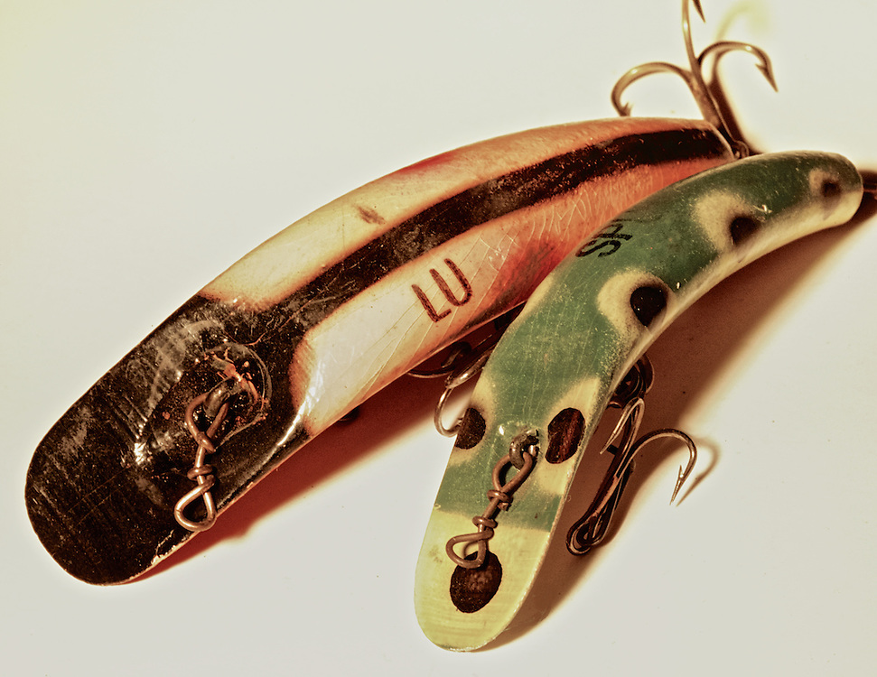 From my grandfather's tackle box, vintage wooden fishing lures.