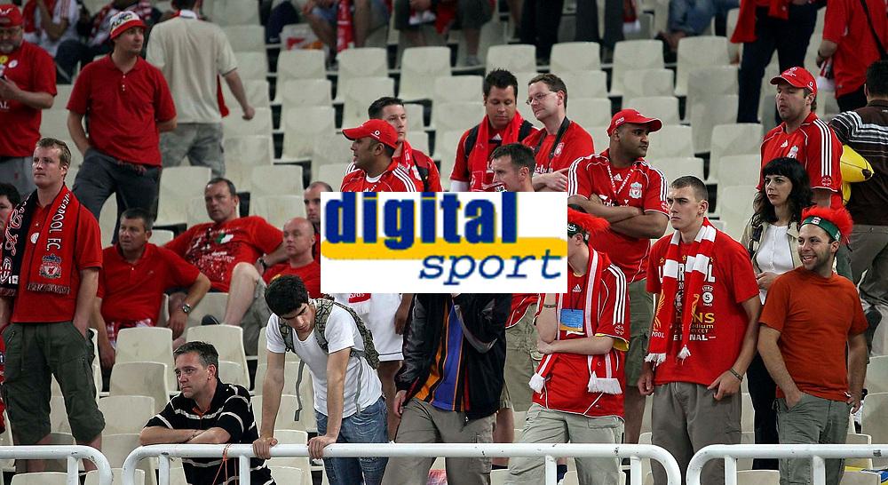 Photo: Paul Thomas.<br /> AC Milan v Liverpool. UEFA Champions League Final. 23/05/2007.<br /> <br /> Dejected Liverpool fans.