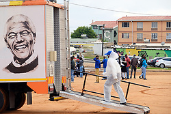 ALEXANDRA SOUTH AFRICA - APRIL 25: A mobile clinic during intensified testing and screening on Freedom Day, screening and testing includes people over over 60, flu-like symptoms, comorbid conditions, like diabetes, asthma, hypertencsion, HIV and tuberculosis on April 25, 2020 in Alexandra South Africa. Under pressure from a global pandemic. President Ramaphosa declared a 21 day national lockdown extended by another two weeks, mobilising goverment structures accross the nation to combat the rapidly spreading COVID-19 virus - the lockdown requires businesses to close and the public to stay at home during this period, unless part of approved essential services. (Photo by Dino Lloyd)