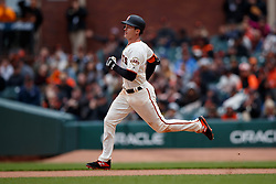 SAN FRANCISCO, CA - MAY 26: Mike Yastrzemski #5 of the San Francisco Giants runs to second base after hitting a double against the Arizona Diamondbacks during the seventh inning at Oracle Park on May 26, 2019 in San Francisco, California. The Arizona Diamondbacks defeated the San Francisco Giants 6-2. (Photo by Jason O. Watson/Getty Images) *** Local Caption *** Mike Yastrzemski
