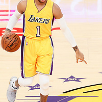 15 November 2016: Los Angeles Lakers guard D'Angelo Russell (1) brings the ball up court during the LA Lakers 125-118 victory over the Brooklyn Nets, at the Staples Center, Los Angeles, California, USA.