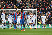 Leicester City midfielder Riyad Mahrez (26) celebrates his goal 0-1 during the Barclays Premier League match between Crystal Palace and Leicester City at Selhurst Park, London, England on 19 March 2016. Photo by Phil Duncan.