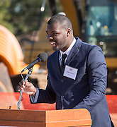 Wilbert Moore comments during a groundbreaking ceremony for the new Energy Institute High School, November 19, 2016.