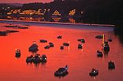 Schuylkill River Boats, Boathouse Row. Fairmont Waterworks, Fairmont Part, Sunset, Philadelphia, PA