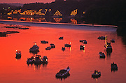 Schuylkill River Boats, Boathouse Row. Fairmont Waterworks, Fairmont Part, Sunset, Philadelphia, PA