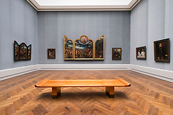 Interior of Gemaldegalerie museum, at Kulturforum in Berlin, Germany