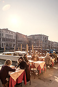 Venice, cafes along Canal Gran de near Ponte di Rialto
