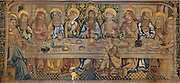 The Last Supper, on the Tapestry of the Last Supper, 15th century, by an unknown artist, in linen, wool, silk and gold thread, in the collection of the Museum of Tortosa Cathedral, in the Cathedral of St Mary, designed by Benito Dalguayre in Catalan Gothic style and begun 1347 on the site of a Romanesque cathedral, consecrated 1447 and completed in 1757, Tortosa, Catalonia, Spain. Picture by Manuel Cohen