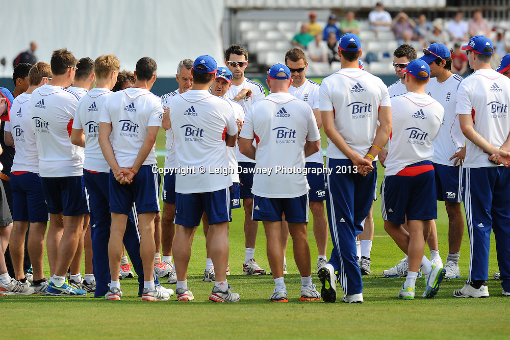England team talk during the warm up on the first of a four day Ashes warm up game against Essex at the Essex County Cricket Ground, 30.06.13.  Credit: © Leigh Dawney Photography. Self Billing where applicable. Tel: 07812 790920