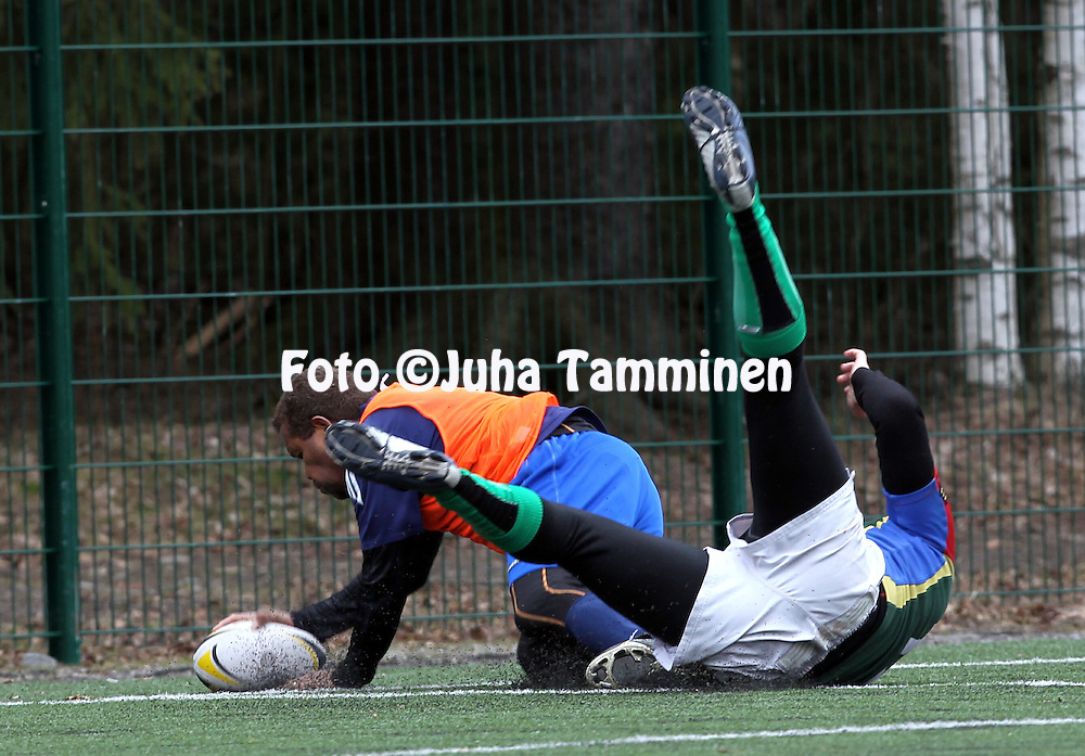 28.4.2012, Tampere, Finland..SRL 7's 2012. .Linna Rugby - Jyvskyl Rugby..Max Maetoloa scores the first try of Linna Rugby.