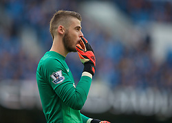 MANCHESTER, ENGLAND - Sunday, November 2, 2014: Manchester United's goalkeeper David de Gea in action against Manchester City during the Premier League match at the City of Manchester Stadium. (Pic by David Rawcliffe/Propaganda)