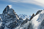 The west face of the Matterhorn and the north face of the Dent d'Herens, Valais, Switzerland