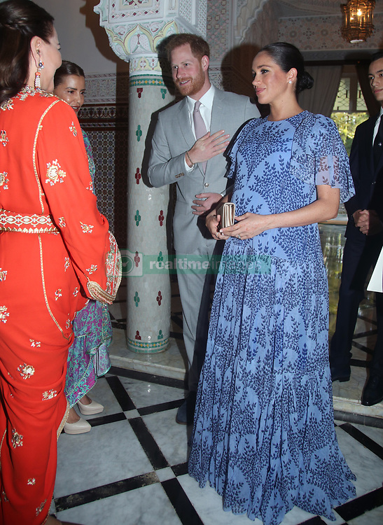 The Duke and Duchess of Sussex greet Princess Lalla Meryem of Morocco (second left) and Princess Lalla Hasna of Morocco, during an audience with the King Mohammed VI of Morocco at his residence in Rabat, on the third day of their tour of Morocco.