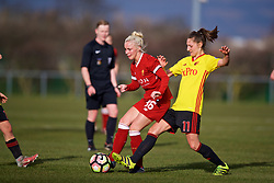 LIVERPOOL, ENGLAND - Sunday, February 4, 2018: Liverpool's Ashley Hodson and Watford's Antonia Gregoriou during the Women's FA Cup 4th Round match between Liverpool FC Ladies and Watford FC Ladies at Walton Hall Park. (Pic by David Rawcliffe/Propaganda)