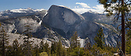 From North Dome, the face of Half Dome can be viewed straight-on, Yosemite National Park