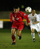 Fotball: Liverpool new £3.6m signing, Czech Republic international, Milan Baros in action against Leeds during the Reserve match at Haigh Avenue, Southport. 150102<br />