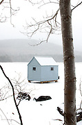 A blue ice-fishing shack seen through trees during a snowstorm.