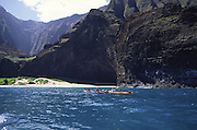 Kayaking, Honopu, Napali Coast, Kauai, Hawaii<br />