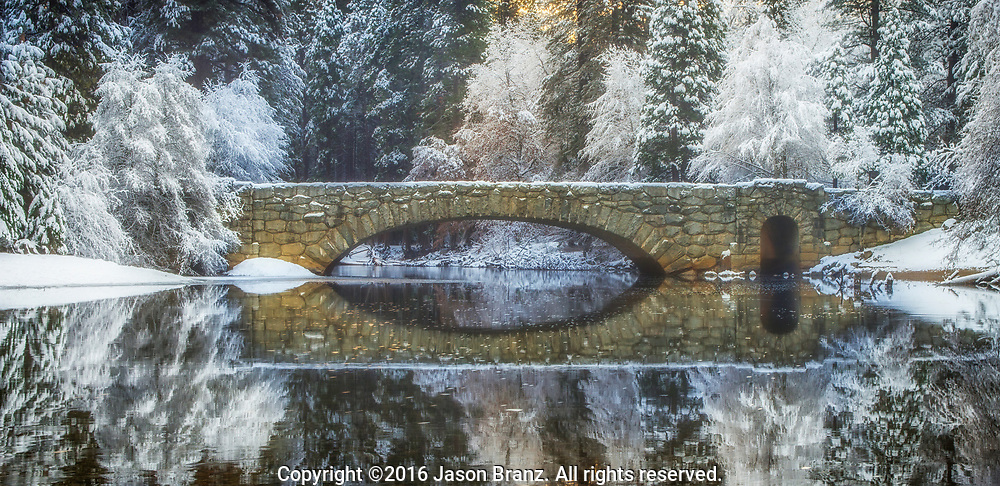Stoneman Bridge in winter, Yosemite National Park, California.