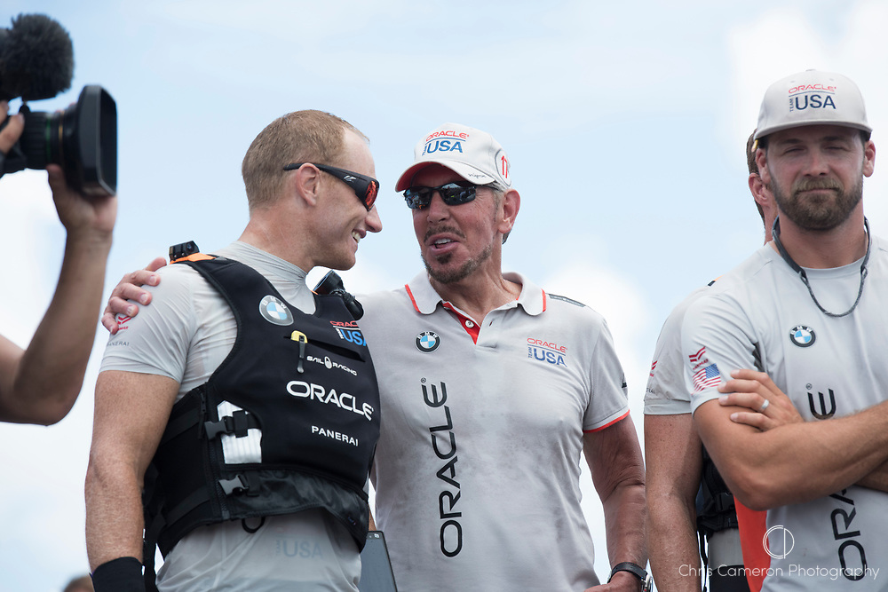 America's Cup Village, 26th June 2017. Oracle Team USA helmsman Jimmy Spithill and Team owner Larry Ellison on stage after losing the America's Cup to Emirates Team New Zealand.