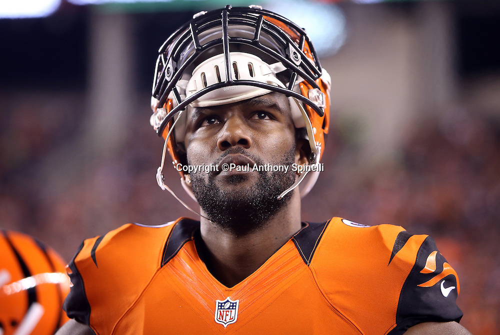 Cincinnati Bengals defensive end Michael Johnson (90) looks on from the sideline during the 2015 week 10 regular season NFL football game against the Houston Texans on Monday, Nov. 16, 2015 in Cincinnati. The Texans won the game 10-6. (©Paul Anthony Spinelli)