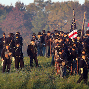 during the sunrise battle, a reenactment of the Battle of Pottsville, during the weekend celebration of the Battle of Perryville, which serves as the national Civil War reenactment for 2006, at the Perryville Battlefield in Perryville, Ky. on Oct. 7, 2006. David Stephenson/Staff
