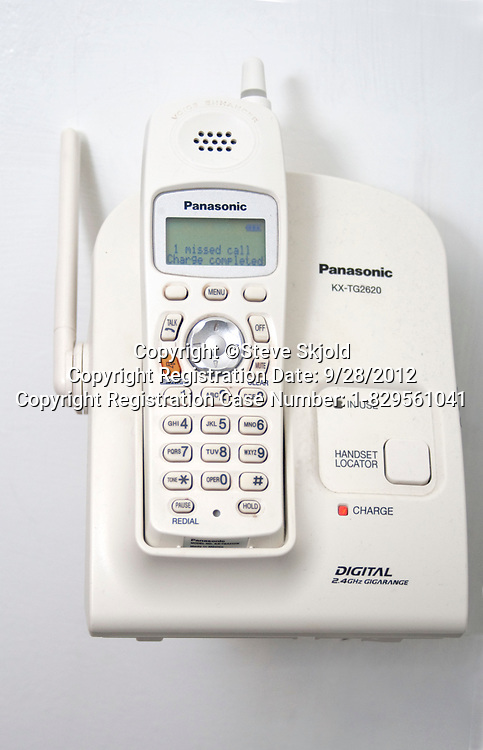 White Panasonic KX-TG2620 digital wall mounted telephone. St Paul Minnesota MN USA