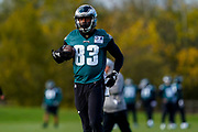 Philadelphia Eagles Josh Perkins TE (83) during the press, training and media day for Philadephia Eagles at London Irish Training Ground, Hazelwood Centre, United Kingdom on 26 October 2018. Picture by Jason Brown.