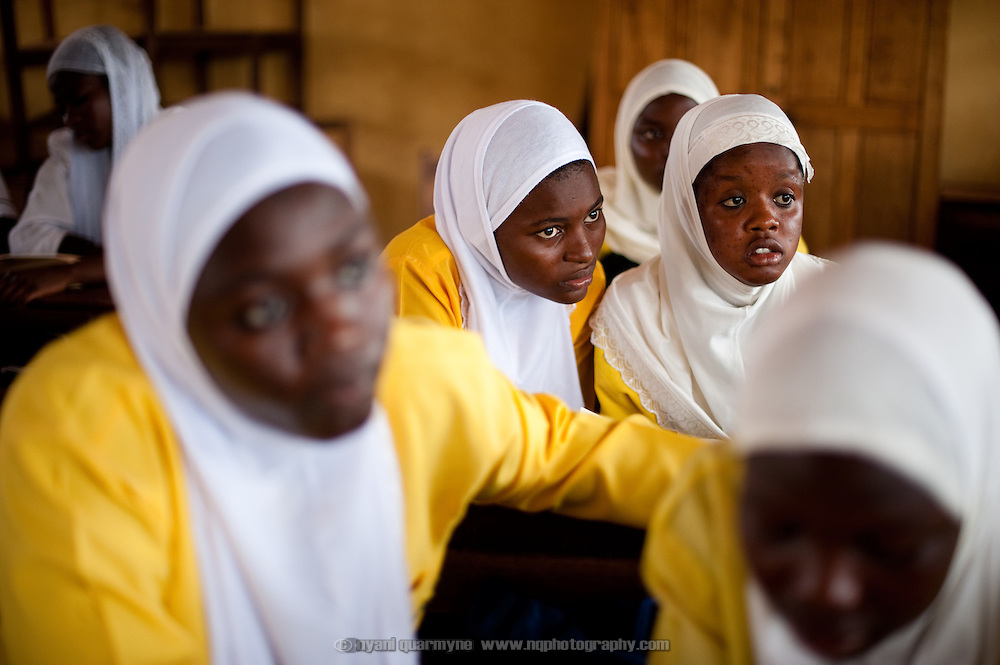 Students at the Islamic Training Institute in Nima, a densly populated area of Ghana's capital, Accra.