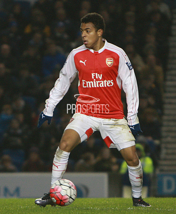 Arsenal striker Donyell Malen during the Barclays U21 Premier League match between Brighton U21 and Arsenal U21 at the American Express Community Stadium, Brighton and Hove, England on 30 November 2015. Photo by Bennett Dean.