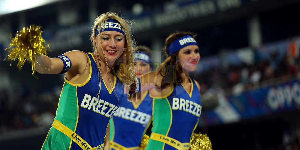 Cheer Girls Performs during match 7 of the Oppo Champions League Twenty20 between the Kolkata Knight Riders and the Lahore Lions held at the Rajiv Gandhi Cricket Stadium, Hyderabad, India on the 21st September 2014<br /> <br /> Photo by:  Sandeep Shetty / Sportzpics/ CLT20<br /> <br /> <br /> Image use is subject to the terms and conditions as laid out by the BCCI/ CLT20.  The terms and conditions can be downloaded here:<br /> <br /> http://sportzpics.photoshelter.com/gallery/CLT20-Image-Terms-and-Conditions-2014/G0000IfNJn535VPU/C0000QhhKadWcjYs