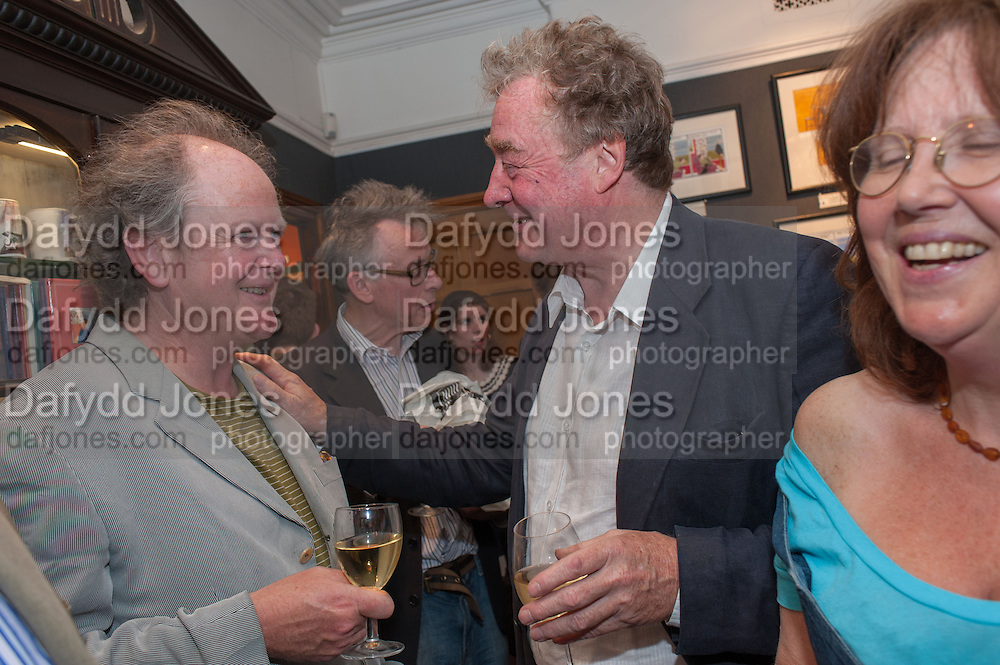 CRAIG BROWN; ANDREW BARROW; CHRISTOPHER SIMON SYKES, Elliott and Thompson host a book launch of How the Queen can Make you Happy by Mary Killen.- Book launch. The O' Shea Gallery. St. James's St. London. 20 June 2012.