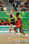 8th April 2018, Gold Coast, Gold Coast Convention and Exhibition Centre, Australia; Commonwealth Games day 4; Netball, Malawi versus New Zealand; Samantha Sinclair of New Zealand passes the ball