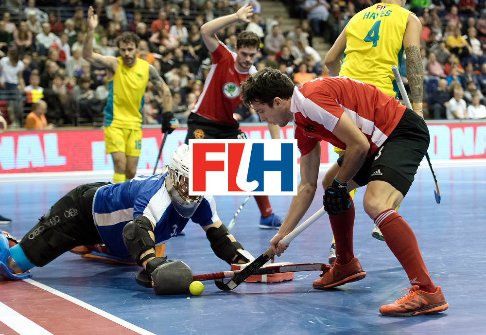BERLIN - Indoor Hockey World Cup<br /> SF2 Australia - Austria<br /> foto: Mateusz Szymczyk (GK)  and Benjamin Stanzl    <br /> WORLDSPORTPICS COPYRIGHT FRANK UIJLENBROEK