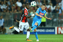 August 22, 2017 - Nice, France - Jean Michael Seri of Nice and Jorginho of Napoli  during the UEFA Champions League Qualifying Play-Offs round, second leg match, between OGC Nice and SSC Napoli at Allianz Riviera Stadium on August 22, 2017 in Nice, France. (Credit Image: © Matteo Ciambelli/NurPhoto via ZUMA Press)
