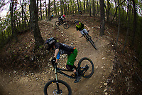 Mountain biking in the blue ridge mountains at Carvins Cove in Roanoke, Virginia.