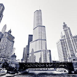 Chicago Trump Tower and Wrigley building in black and white