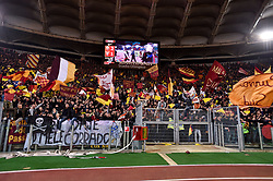 November 18, 2017 - Rome, Italy - Roma supporters celebrate the victory at the end of the Serie A match between Roma and Lazio at Olympic Stadium, Roma, Italy on 18 November 2017. (Credit Image: © Giuseppe Maffia/NurPhoto via ZUMA Press)