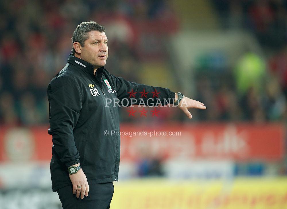 CARDIFF, WALES - Wednesday, February 29, 2012: Wales' coach Osian Roberts during the international friendly match against Costa Rica at the Cardiff City Stadium. (Pic by David Rawcliffe/Propaganda)