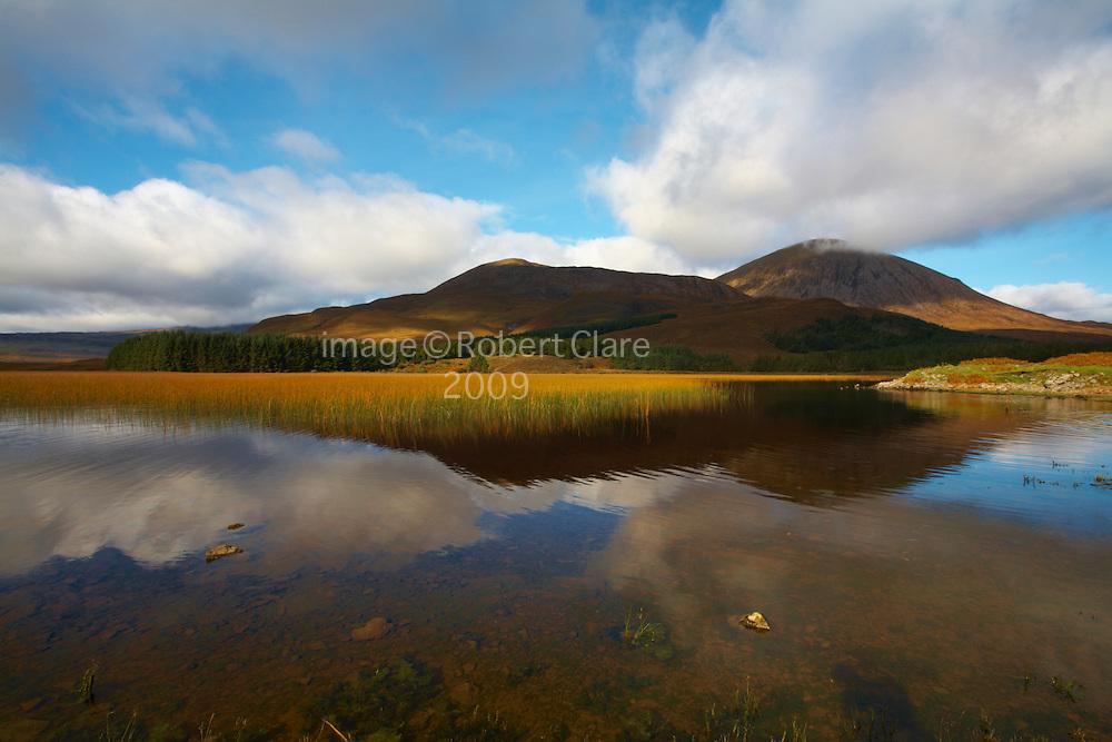 Scotland Isle of Skye  Loch Cill Chriosd looking across to Beinn na Caillich 732mtrs  Beinn Dearg Bheag 582mtr and Beinn Dearg Mhor