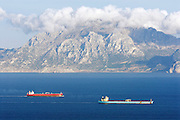 Tankers sailing out of the Mediterranean sea towards the Atlantic ocean. Strait of Gibraltar. Spain.