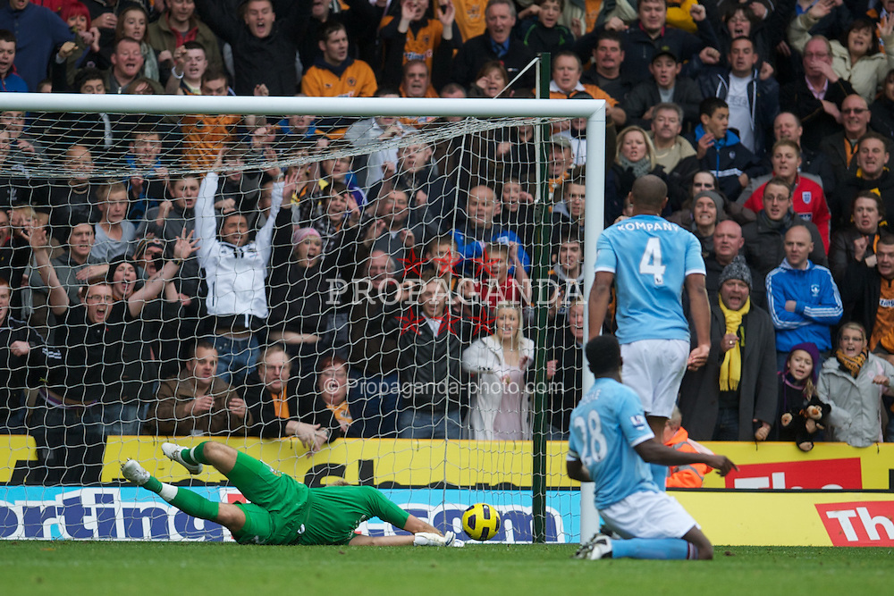 WOLVERHAMPTON, ENGLAND - Saturday, October 30, 2010: Manchester City's goalkeeper Joe Hart is beaten by Wolverhampton Wanderers' Nenad Milijas as he scores the first equalising goal during the Premiership match at Molineux. (Pic by: David Rawcliffe/Propaganda)